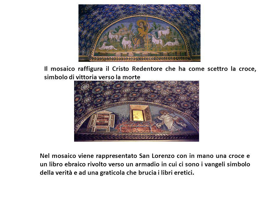 Il mosaico raffigura il Cristo Redentore che ha come scettro la croce, simbolo di vittoria verso la morte