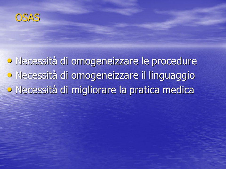 OSAS Necessità di omogeneizzare le procedure. Necessità di omogeneizzare il linguaggio.