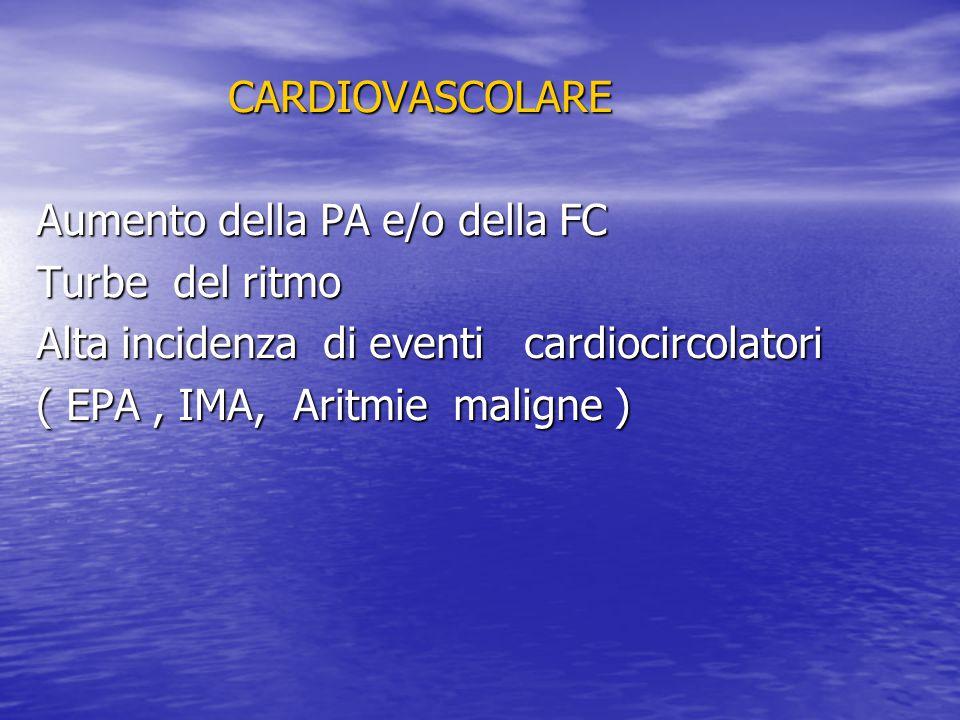 CARDIOVASCOLARE Aumento della PA e/o della FC. Turbe del ritmo. Alta incidenza di eventi cardiocircolatori.