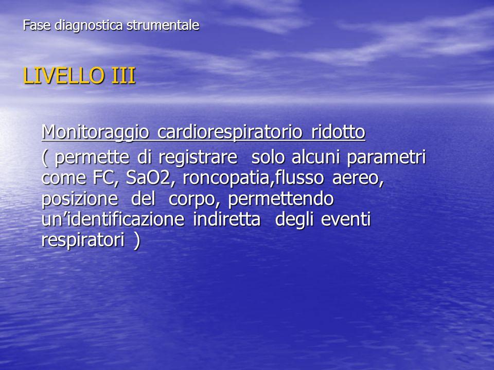 LIVELLO III Monitoraggio cardiorespiratorio ridotto