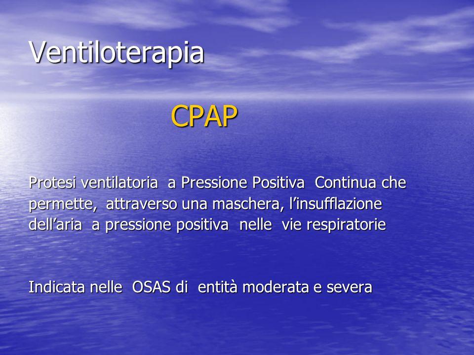 Ventiloterapia CPAP. Protesi ventilatoria a Pressione Positiva Continua che. permette, attraverso una maschera, l'insufflazione.