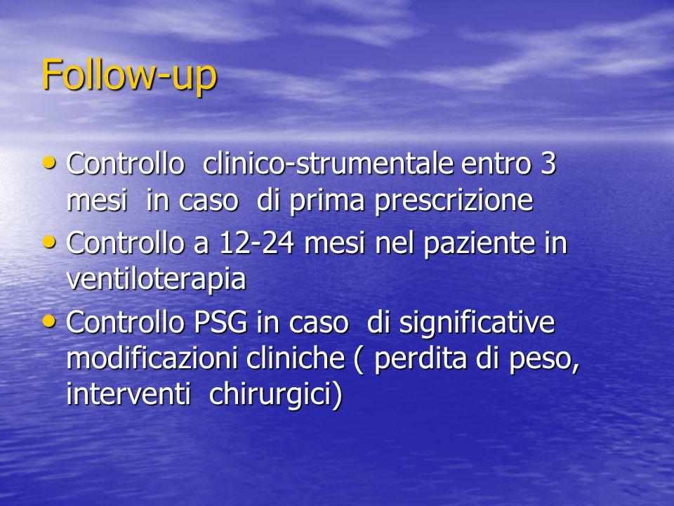 Follow-up Controllo clinico-strumentale entro 3 mesi in caso di prima prescrizione. Controllo a 12-24 mesi nel paziente in ventiloterapia.