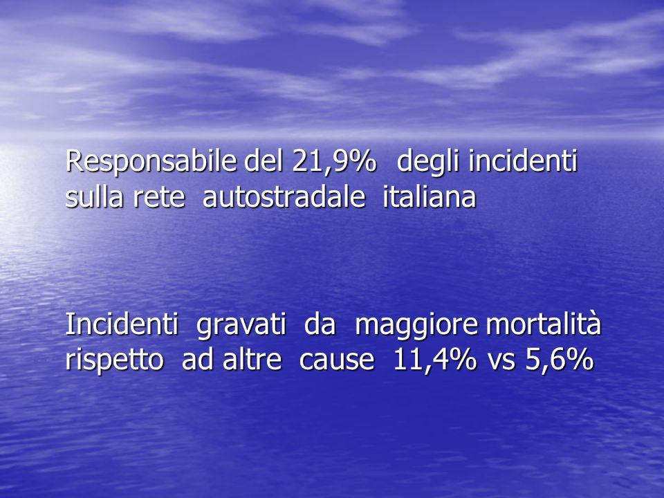 Responsabile del 21,9% degli incidenti sulla rete autostradale italiana