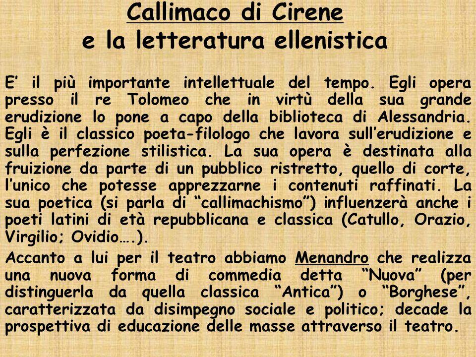 Callimaco di Cirene e la letteratura ellenistica