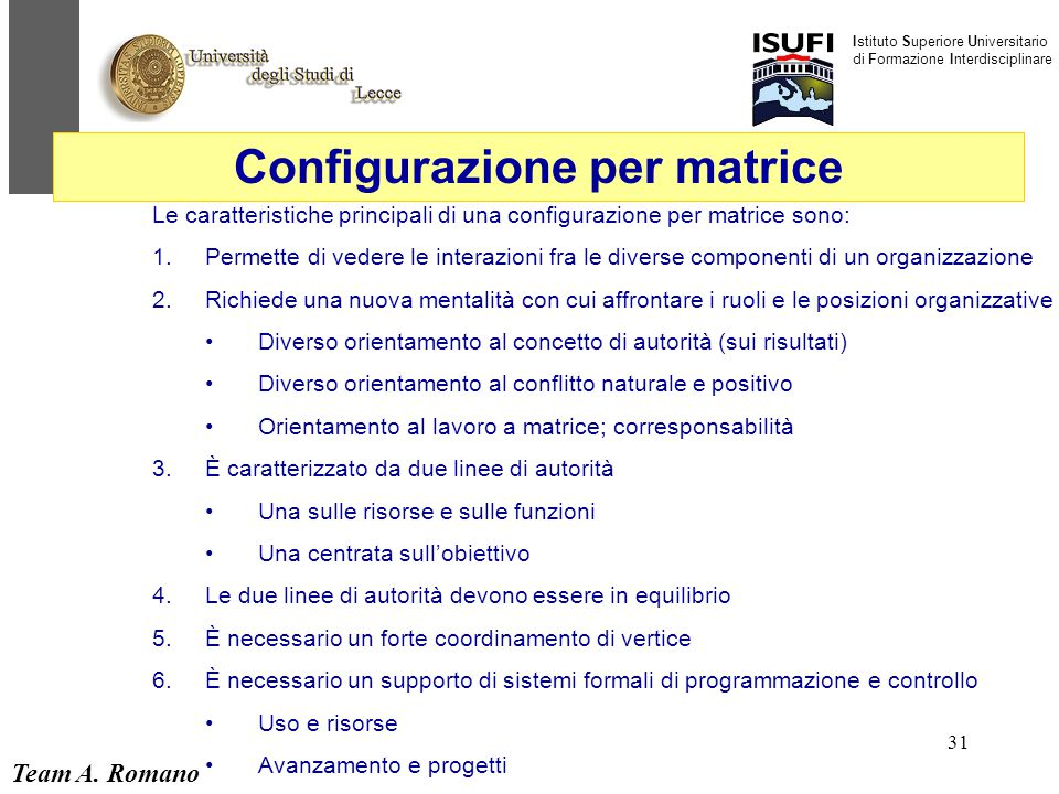 Configurazione per matrice
