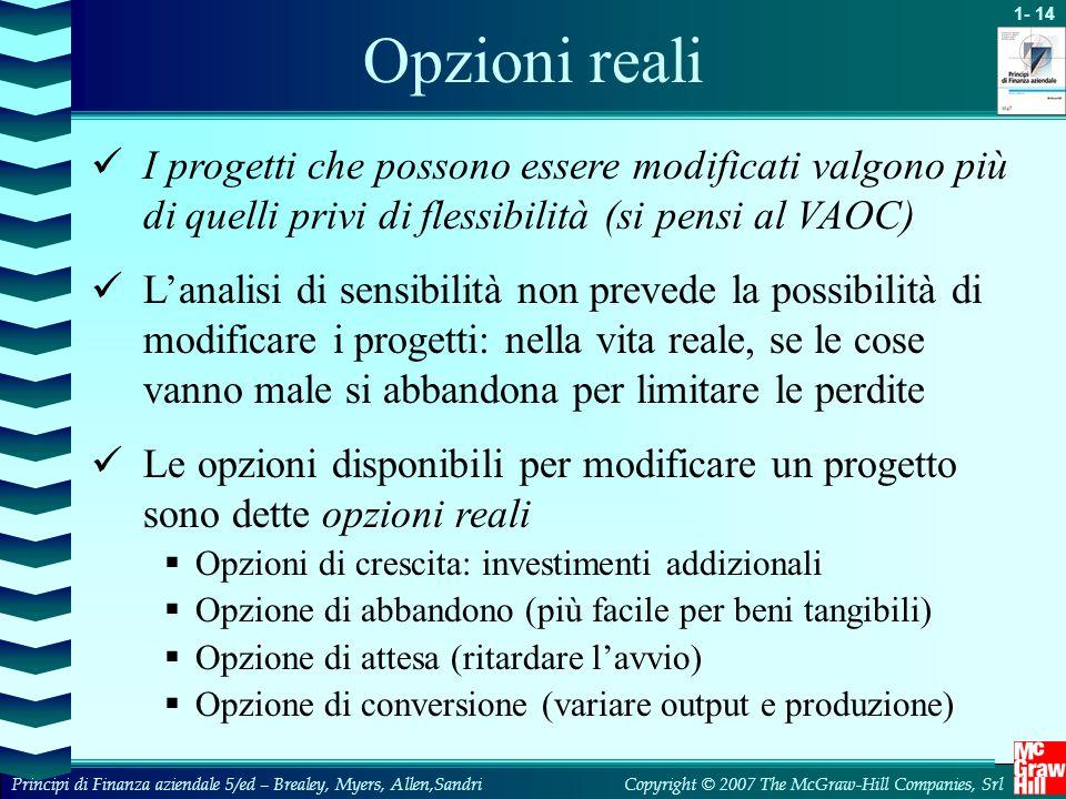 Opzioni reali I progetti che possono essere modificati valgono più di quelli privi di flessibilità (si pensi al VAOC)