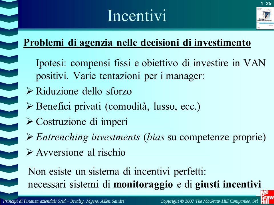 Incentivi Problemi di agenzia nelle decisioni di investimento