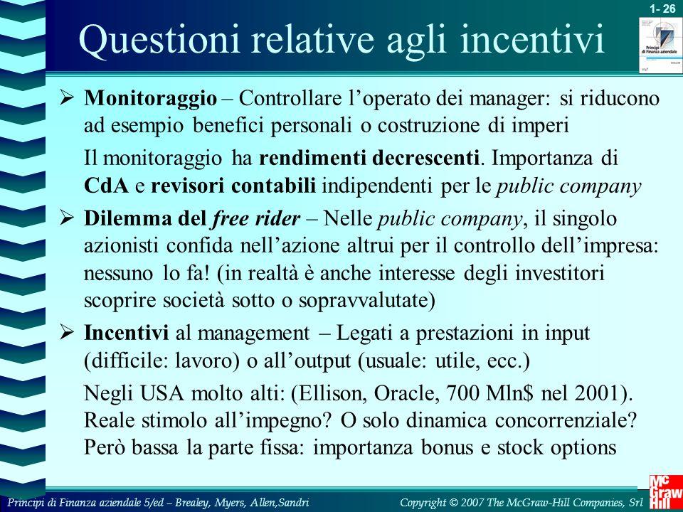 Questioni relative agli incentivi