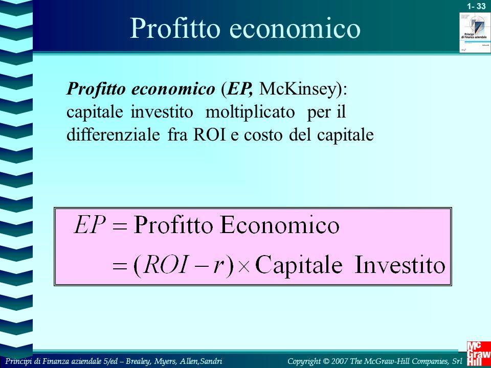 Profitto economico Profitto economico (EP, McKinsey): capitale investito moltiplicato per il differenziale fra ROI e costo del capitale.