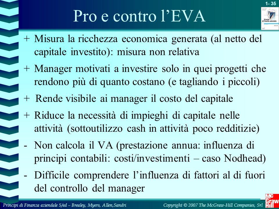 Pro e contro l'EVA + Misura la ricchezza economica generata (al netto del capitale investito): misura non relativa.