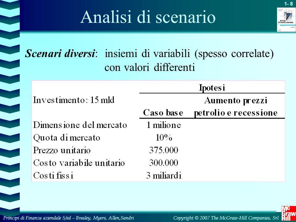 Analisi di scenario Scenari diversi: insiemi di variabili (spesso correlate) con valori differenti.