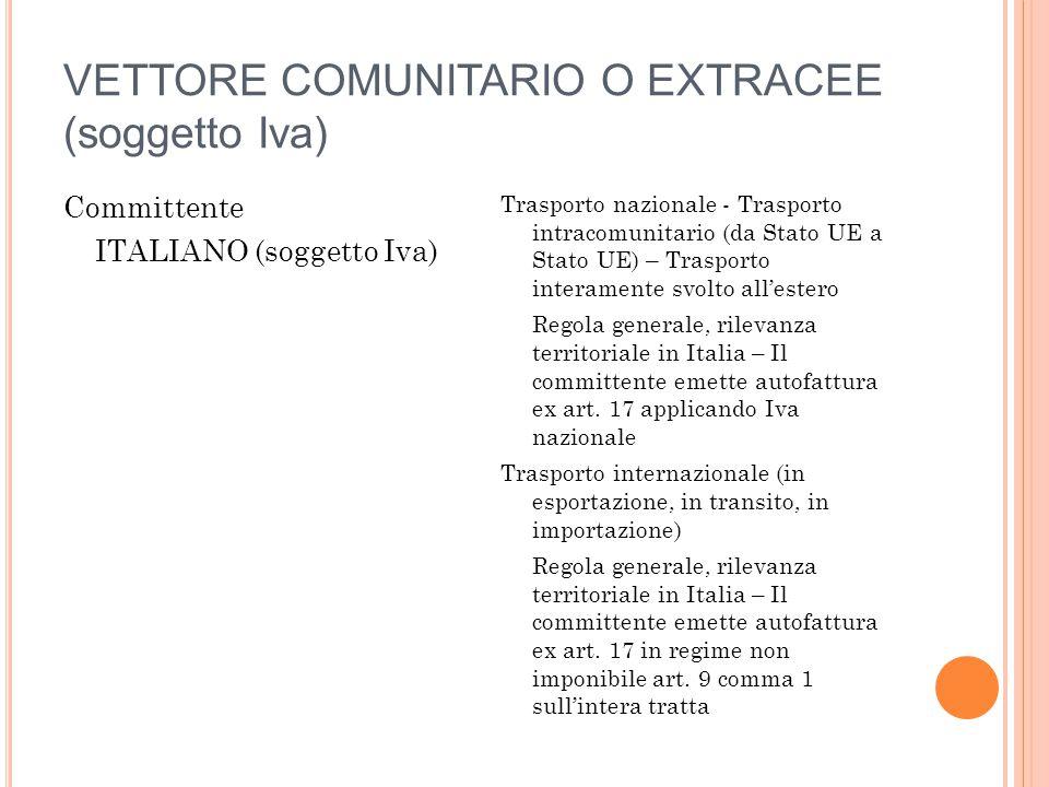 VETTORE COMUNITARIO O EXTRACEE (soggetto Iva)