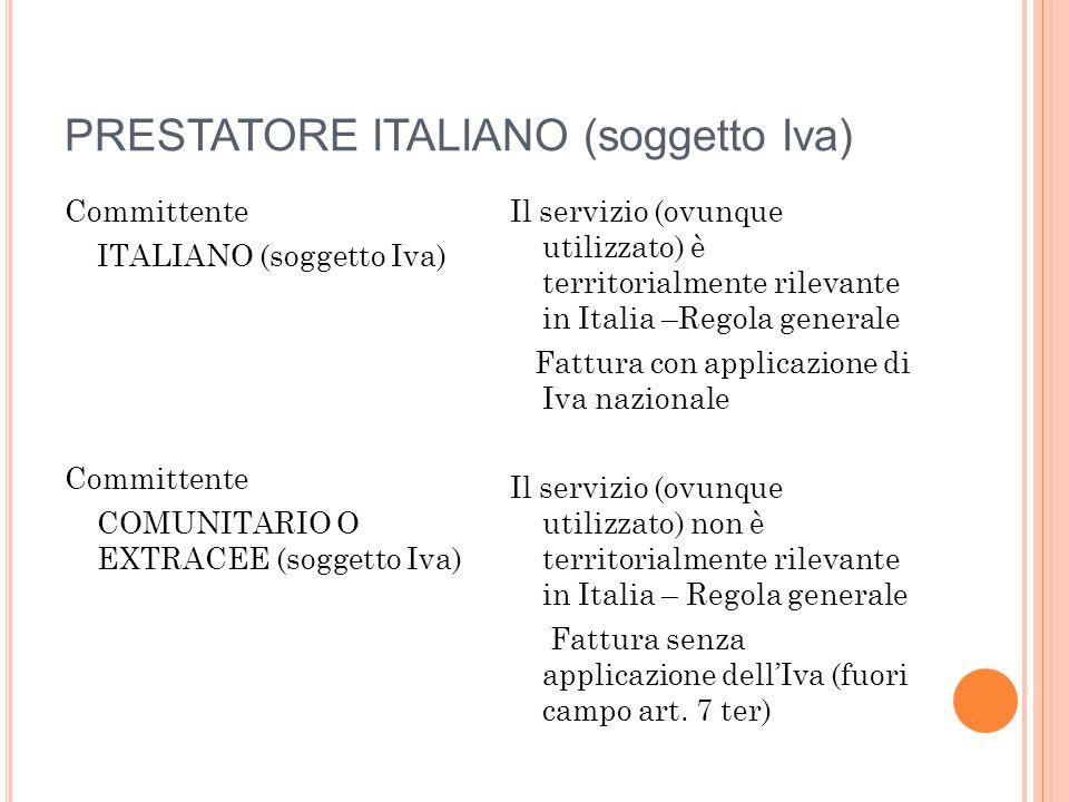 PRESTATORE ITALIANO (soggetto Iva)