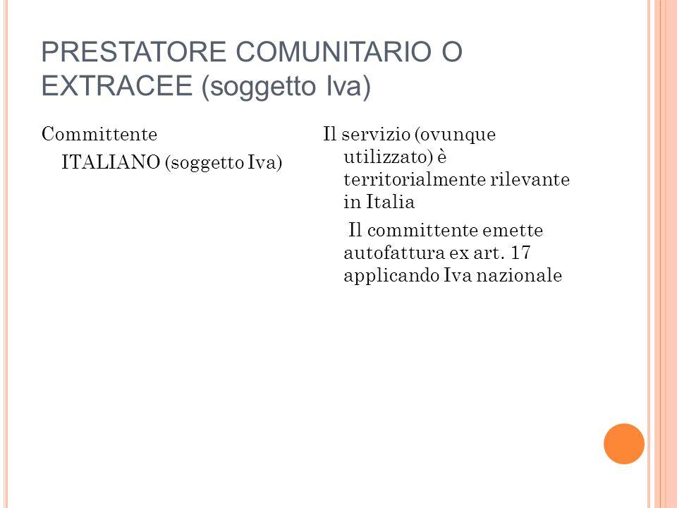 PRESTATORE COMUNITARIO O EXTRACEE (soggetto Iva)