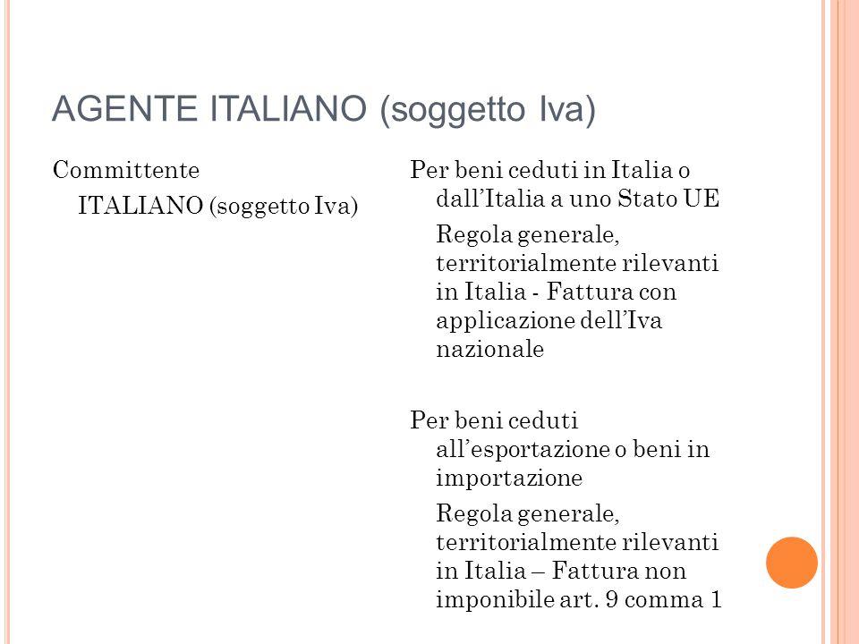 AGENTE ITALIANO (soggetto Iva)