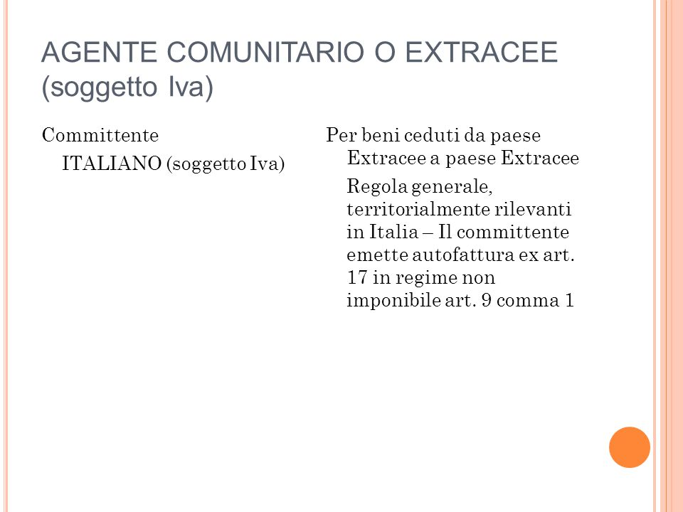 AGENTE COMUNITARIO O EXTRACEE (soggetto Iva)
