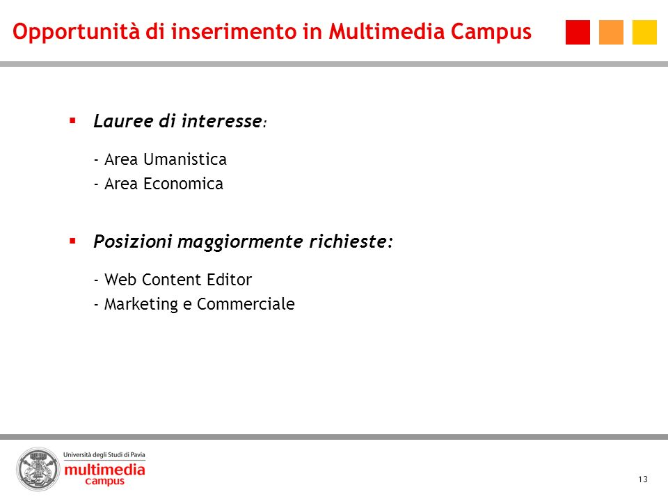 Opportunità di inserimento in Multimedia Campus