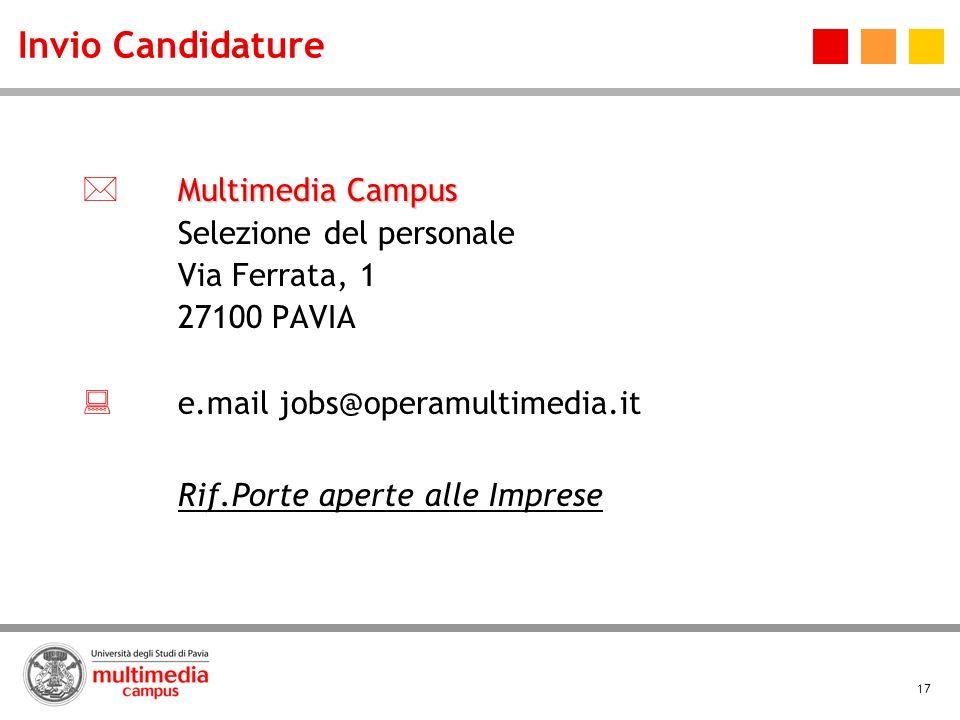 Invio Candidature  Multimedia Campus  e.mail jobs@operamultimedia.it
