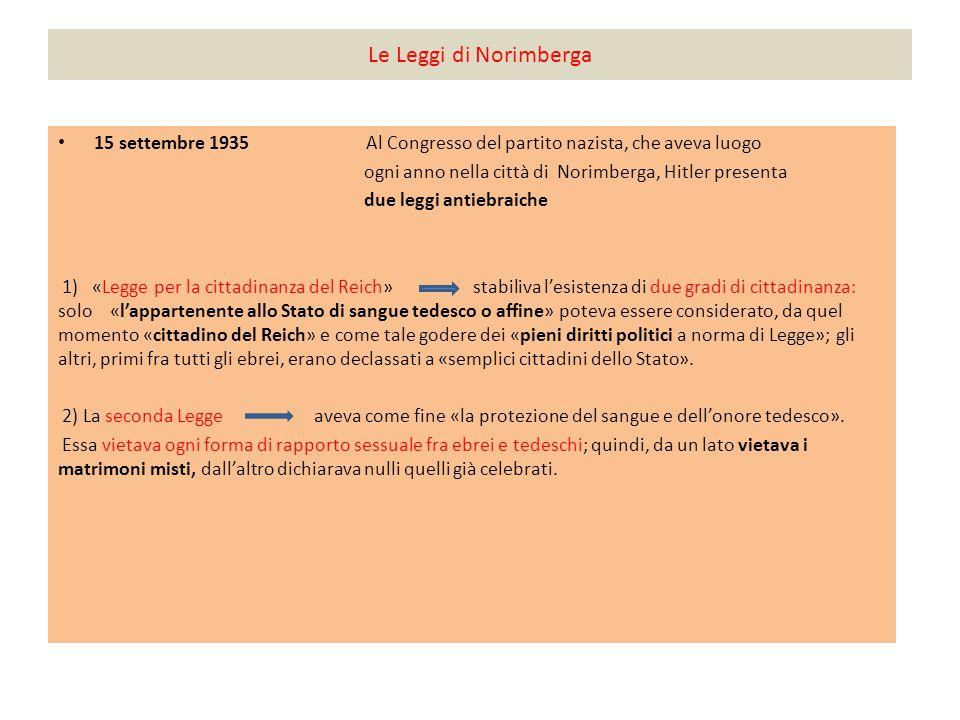 Le Leggi di Norimberga 15 settembre 1935 Al Congresso del partito nazista, che aveva luogo.