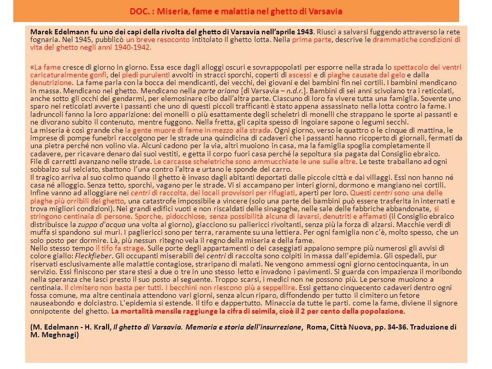 DOC. : Miseria, fame e malattia nel ghetto di Varsavia