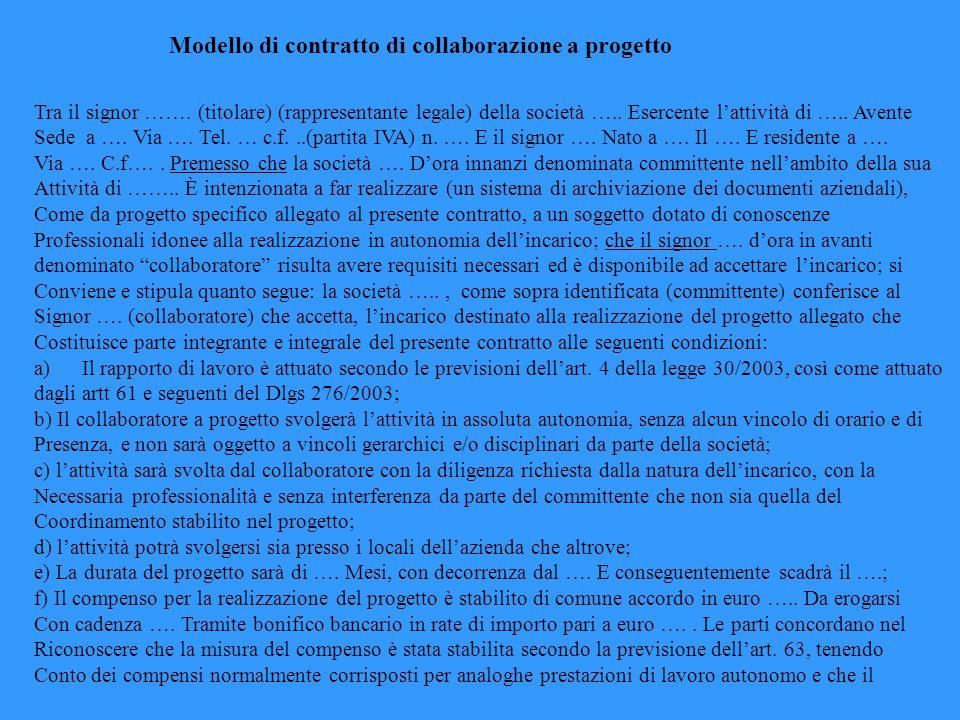 Modello di contratto di collaborazione a progetto