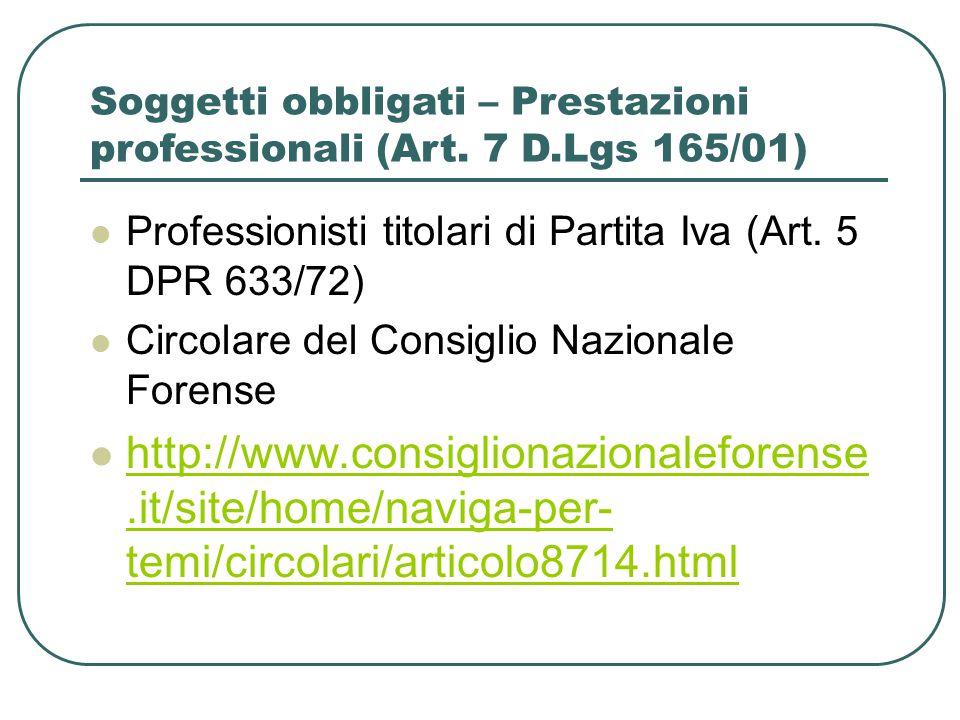 Soggetti obbligati – Prestazioni professionali (Art. 7 D.Lgs 165/01)