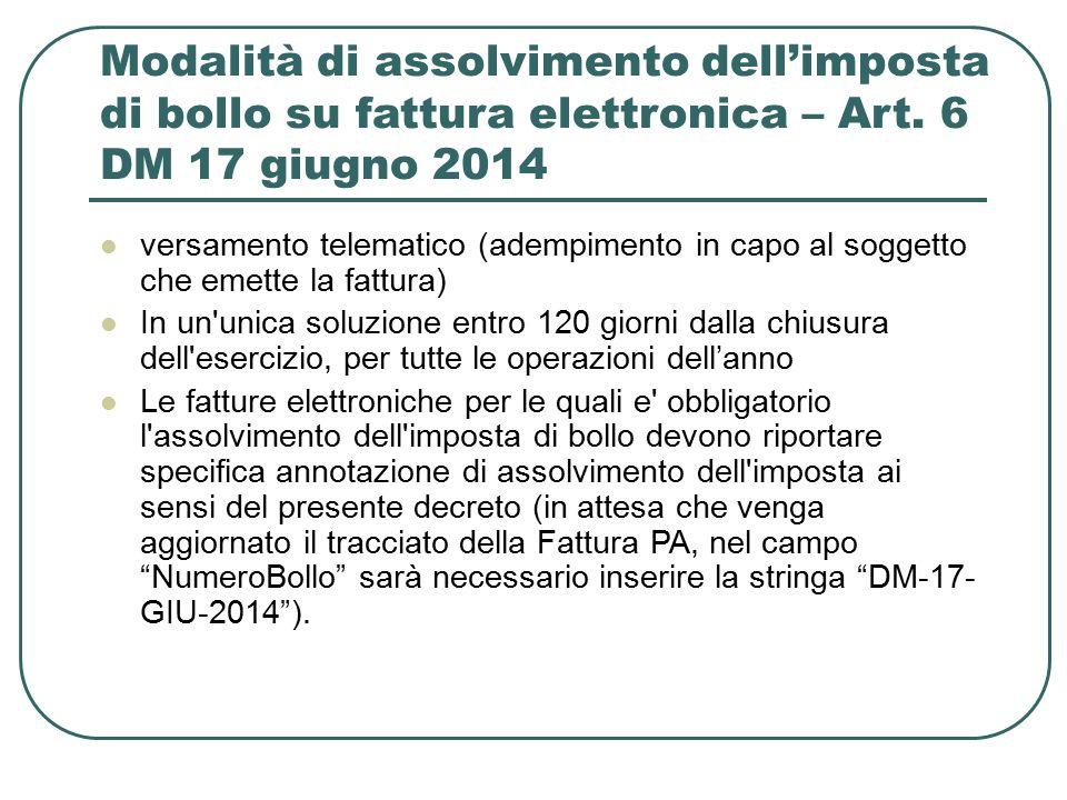 Modalità di assolvimento dell'imposta di bollo su fattura elettronica – Art. 6 DM 17 giugno 2014