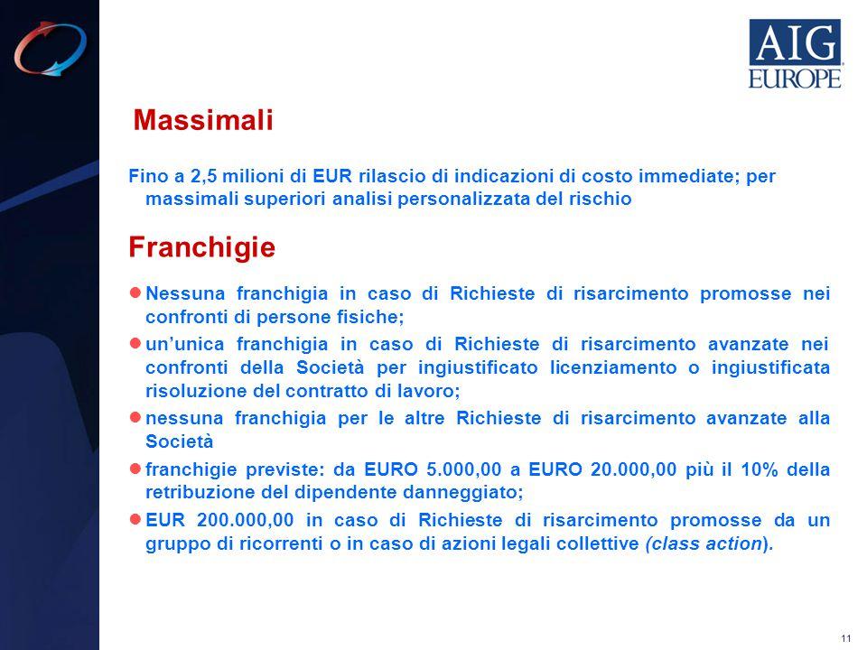 Massimali Fino a 2,5 milioni di EUR rilascio di indicazioni di costo immediate; per massimali superiori analisi personalizzata del rischio.