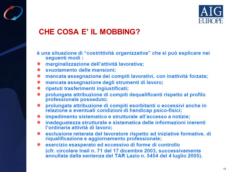 CHE COSA E' IL MOBBING è una situazione di costrittività organizzativa che si può esplicare nei seguenti modi :