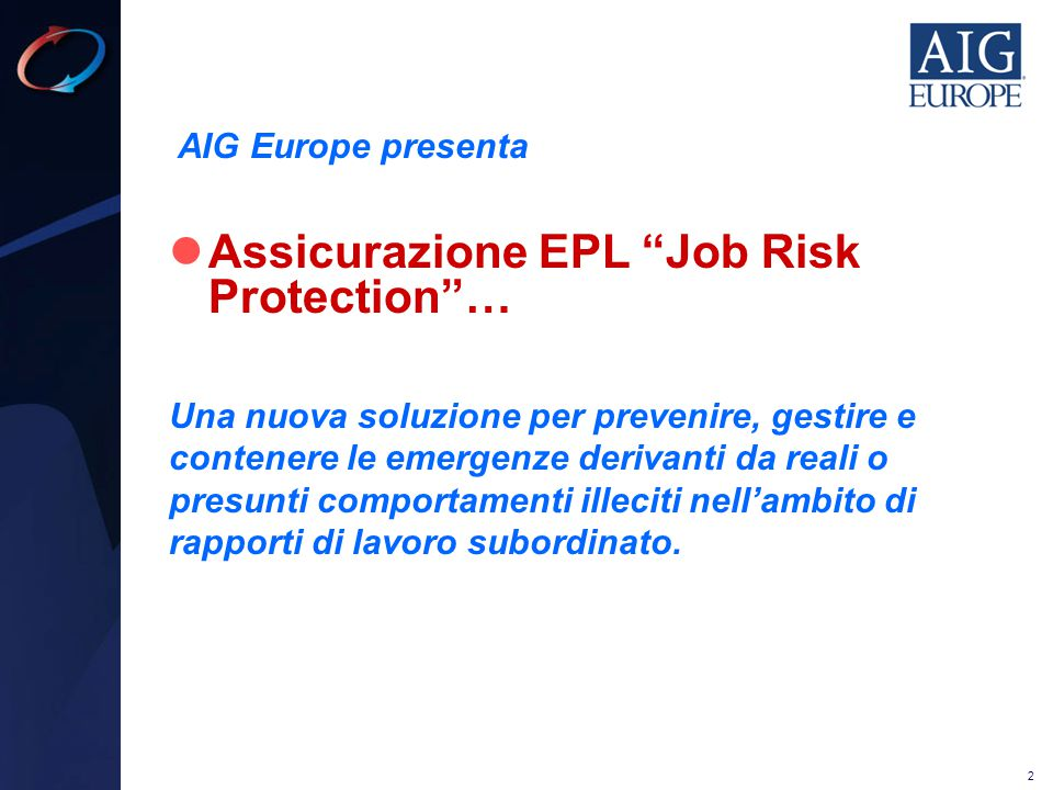 Assicurazione EPL Job Risk Protection …