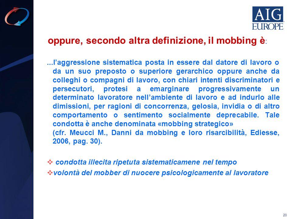 oppure, secondo altra definizione, il mobbing è: