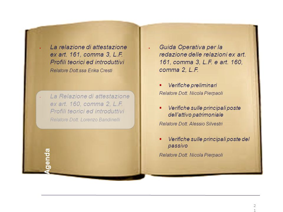 2121 Premesse. La relazione di attestazione ex art. 161, comma 3, L.F. Profili teorici ed introduttivi.