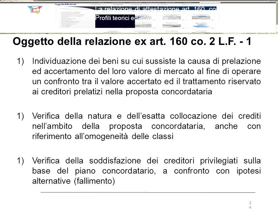 Oggetto della relazione ex art. 160 co. 2 L.F. - 1