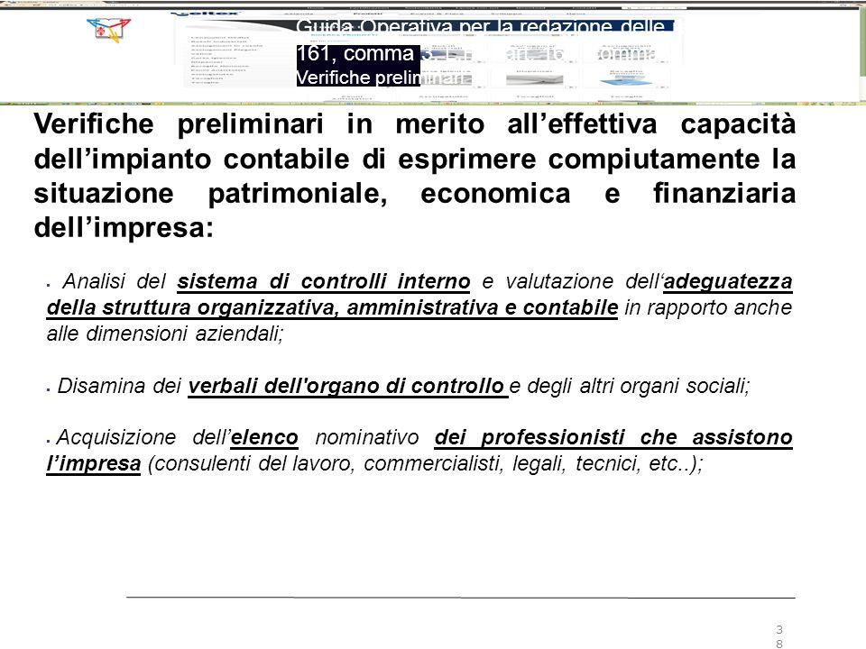 3838 Guida Operativa per la redazione delle relazioni ex art. 161, comma 3, L.F. e art. 160, comma 2, L.F.