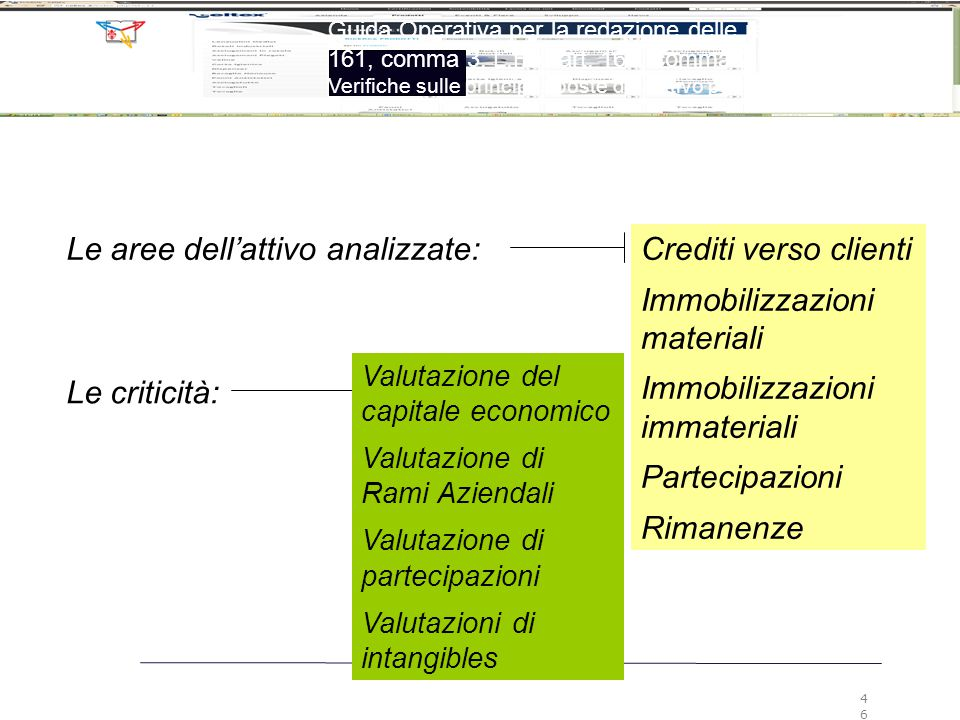 Le aree dell'attivo analizzate: Crediti verso clienti