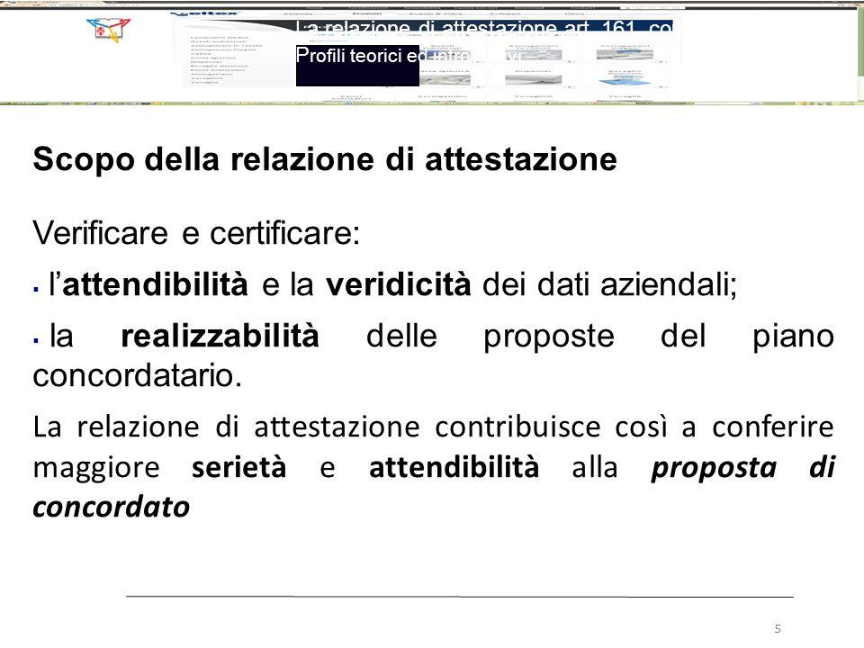 Scopo della relazione di attestazione Verificare e certificare: