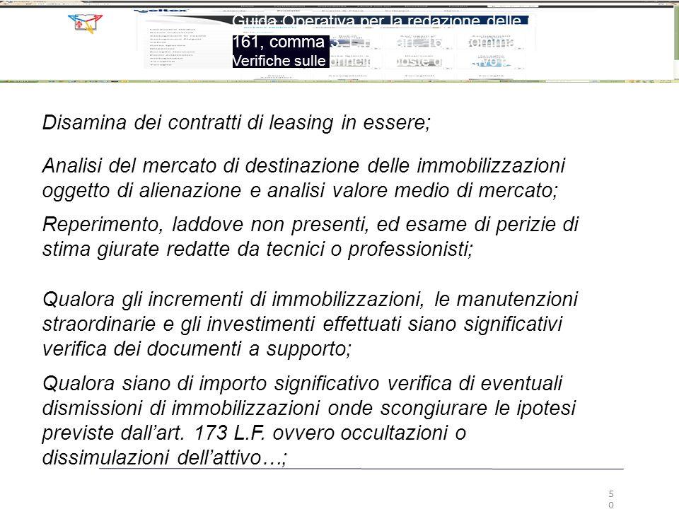 Disamina dei contratti di leasing in essere;