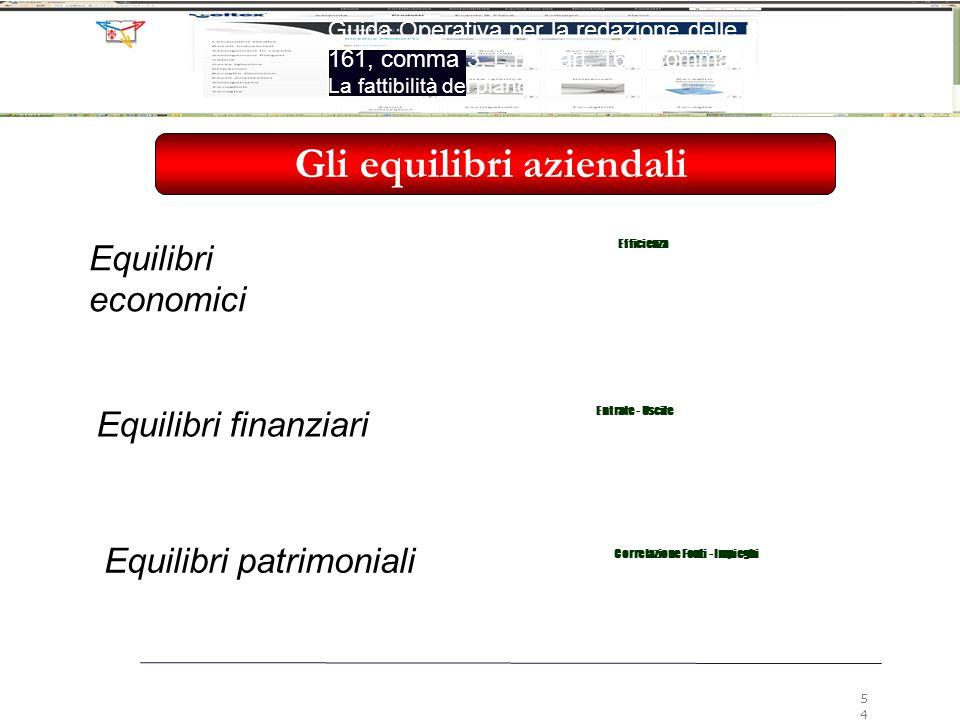 Gli equilibri aziendali Correlazione Fonti - Impieghi