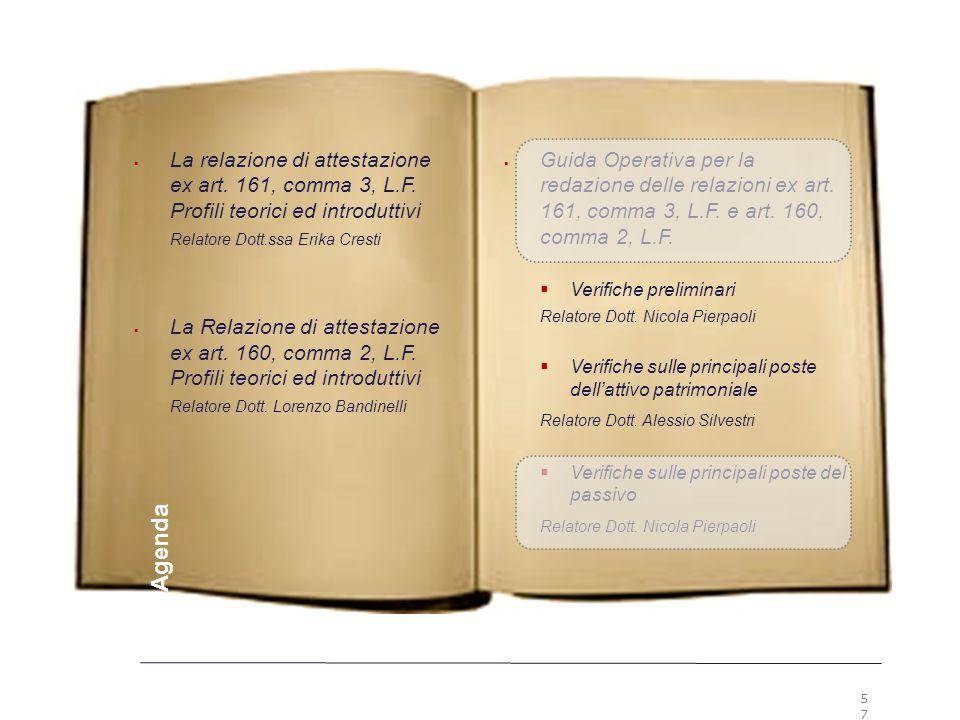 5757 Premesse. La relazione di attestazione ex art. 161, comma 3, L.F. Profili teorici ed introduttivi.
