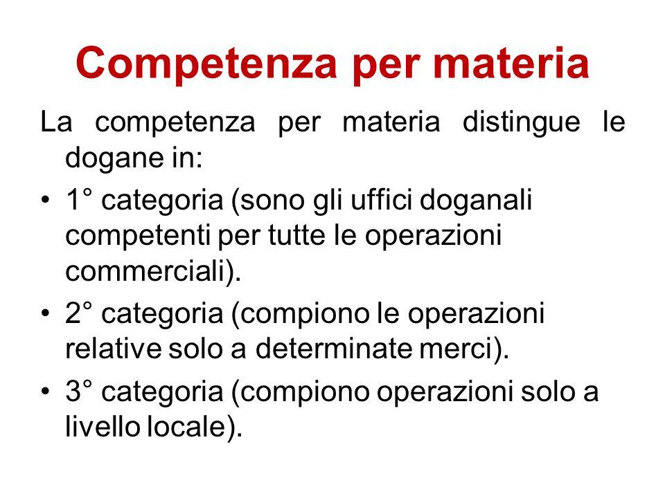 Competenza per materia