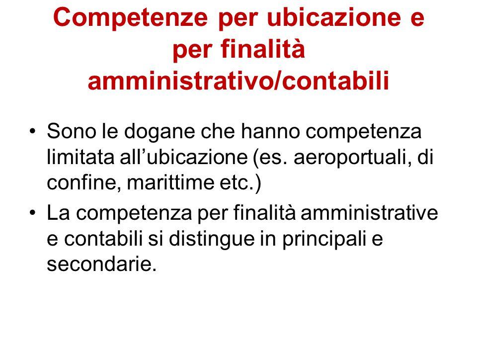 Competenze per ubicazione e per finalità amministrativo/contabili