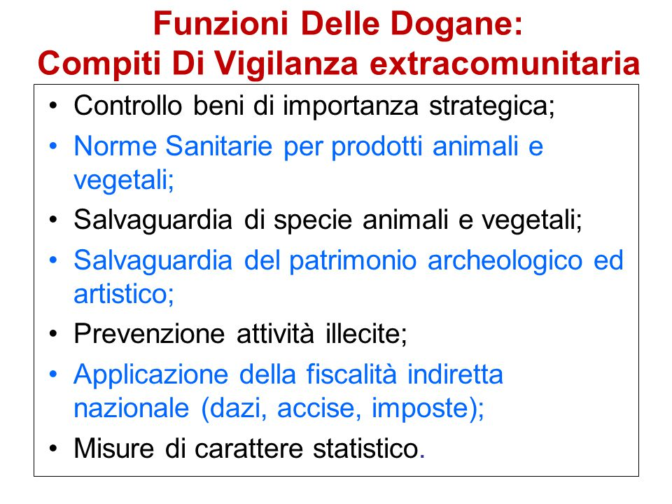 Funzioni Delle Dogane: Compiti Di Vigilanza extracomunitaria