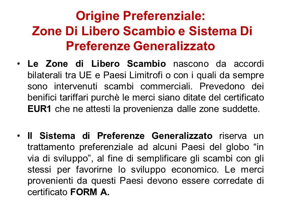 Origine Preferenziale: Zone Di Libero Scambio e Sistema Di Preferenze Generalizzato