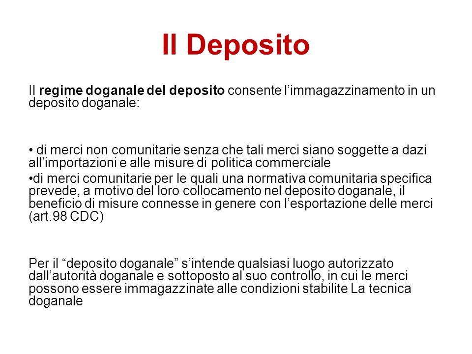 Il Deposito Il regime doganale del deposito consente l'immagazzinamento in un deposito doganale: