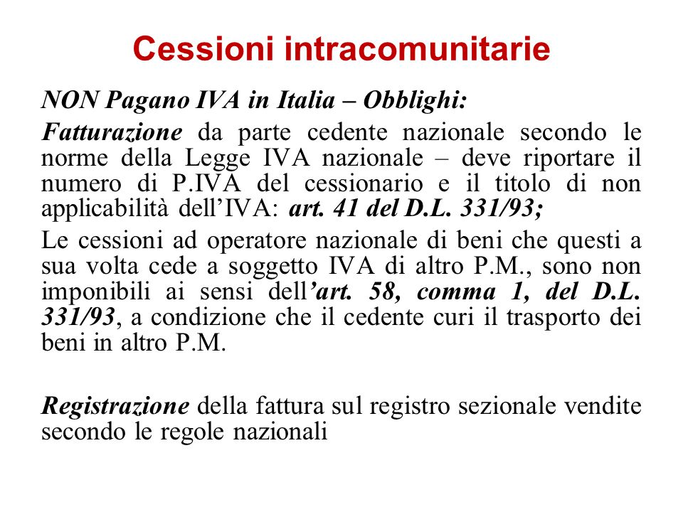 Cessioni intracomunitarie