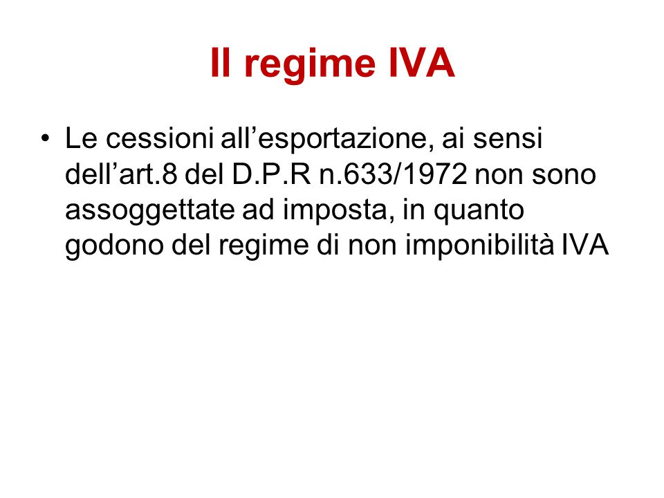 Il regime IVA