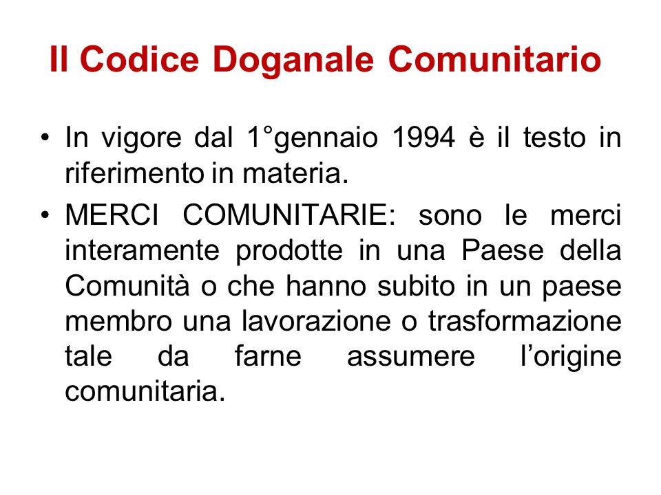 Il Codice Doganale Comunitario