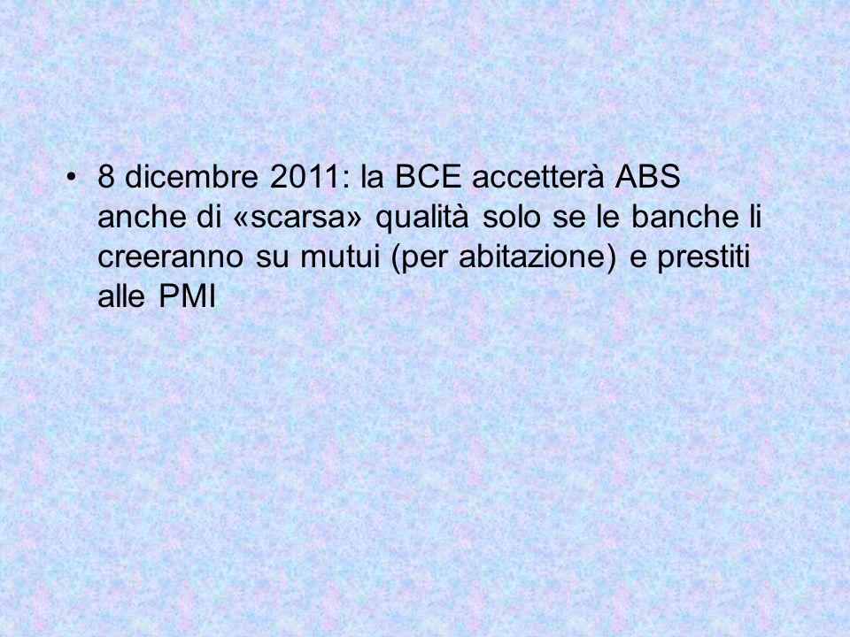 8 dicembre 2011: la BCE accetterà ABS anche di «scarsa» qualità solo se le banche li creeranno su mutui (per abitazione) e prestiti alle PMI