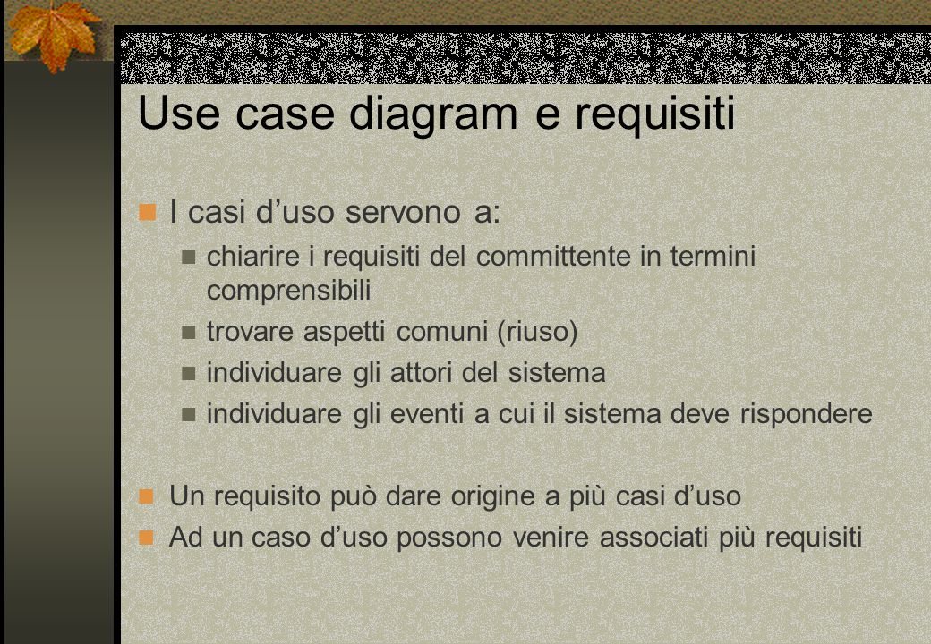 Use case diagram e requisiti