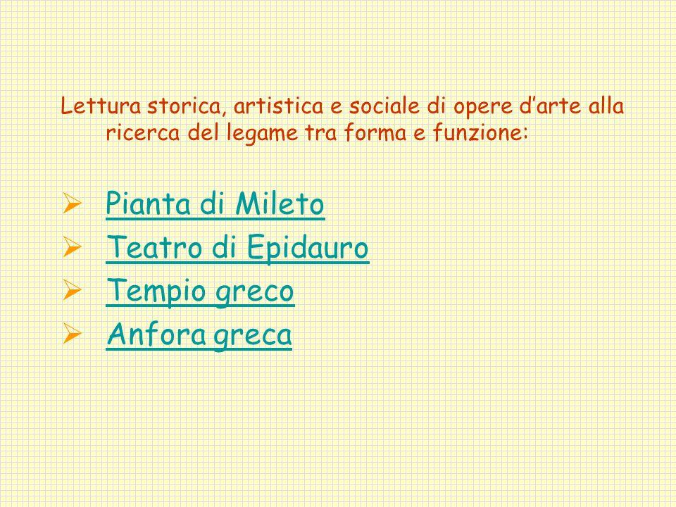 Pianta di Mileto Teatro di Epidauro Tempio greco Anfora greca